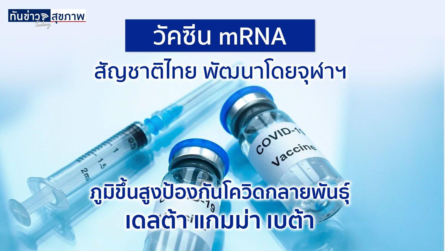 วัคซีน mRNA ของจุฬาฯ ผ่านทดลองในคนเฟส 2 แล้ว ภูมิขึ้นสูง ป้องกันเชื้อเดลต้าได้ดี และพร้อมผลิต อยู่ระหว่างหารือกับ อย.