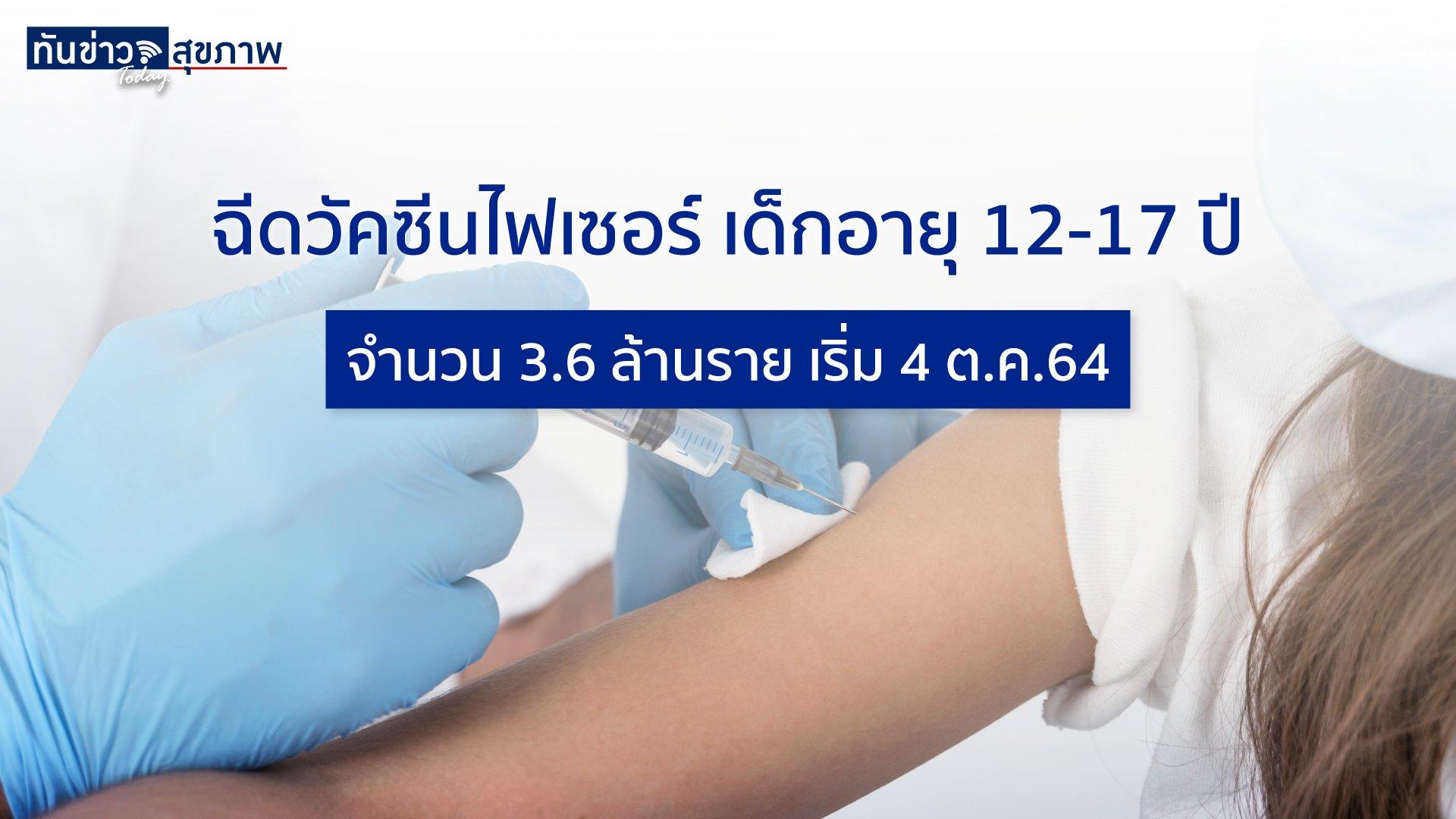 เริ่มฉีดไฟเซอร์เด็กอายุ 12-17 ปีเริ่ม 4 ต.ค.นื้ จำนวน 3.6 ล้านราย คิดเป็น 71% ของทั้งหมด 5 ล้านราย ย้ำผู้ปกครองเฝ้าดูอาการเด็กหลังรับวัคซีน