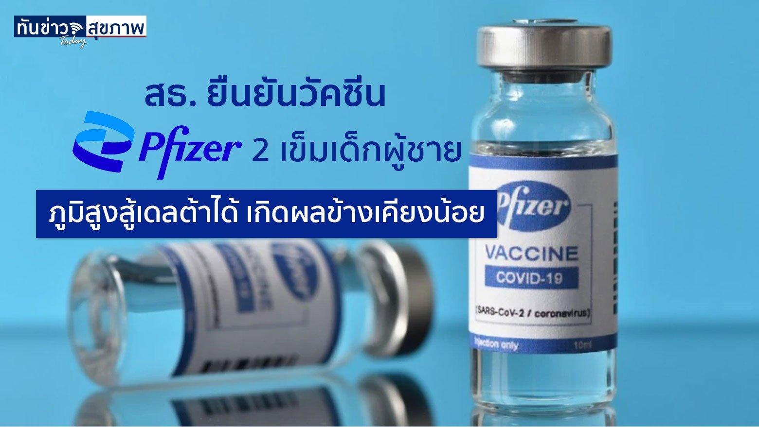 สธ. ยืนยันวัคซีน Pfizer 2 เข็มในเด็กผู้ชาย ช่วยกระตุ้นภูมิสูง โอกาสเกิดผลข้างเคียงน้อย